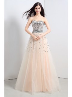 A Line Strapless Corset Back Long Champagne Tulle Sequin Beaded Prom Dress