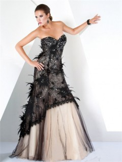 A Line Strapless Long Nude Black Lace Feather Beaded Women Evening Dress