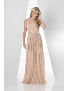 A Line Strapless Long Nude Chiffon Pleated Occasion Bridesmaid Dress Beaded Belt