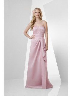 A Line Strapless Long Pearl Pink Satin Draped Bridesmaid Dress With Ruffle