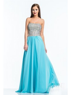 A Line Strapless Long Turquoise Chiffon Sequin Beaded Prom Dress