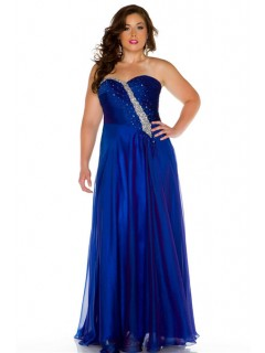 A Line Strapless Sweetheart Long Royal Blue Chiffon Beading Plus Size Evening Prom Dress