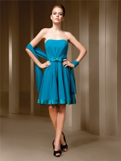 A Line Strapless Turquoise Blue Chiffon Short Party Bridesmaid Dress With Bow Shawl