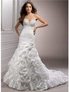 A Line Sweetheart Corset Back Beaded Taffeta Wedding Dress With Detachable Straps