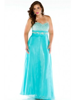A Line Sweetheart Long Aqua Blue Chiffon Beaded Plus Size Party Prom Dress