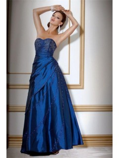 A Line Sweetheart Long Royal Blue Taffeta Beaded Evening Wear Dress