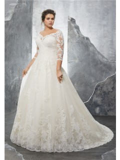 Plus size wedding dresses a line sweetheart three quarter sleeve tulle lace plus size wedding dress junglespirit Gallery