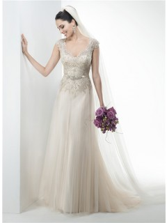 A Line V Neck Cap Sleeve Lace Applique Tulle Wedding Dress Crystals Belt