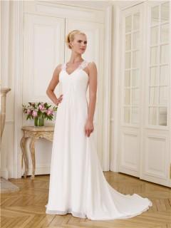 A Line V Neckline Empire Waist Keyhole Open Back Lace Chiffon Wedding Dress