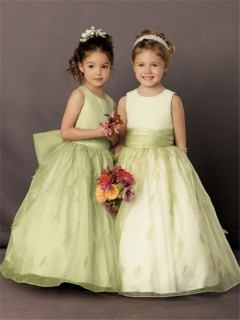 A-line Princess Scoop Floor Length Green Organza Petal Flower Girl Dress With Sash