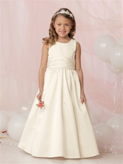 A-line Princess Scoop Floor Length Ivory Satin Lace Flower Girl Dress With Sash