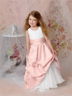 A-line Princess Scoop Floor Length Pink Taffeta Flower Girl Dress With Flowers