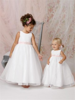 A-line Princess Scoop Floor Length White Organza Flower Girl Dress With Pink Sash