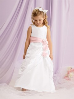 A-line Princess Scoop Floor Length White Taffeta Flower Girl Dress With Flowers