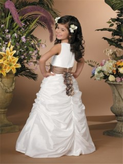 A-line Princess Scoop Floor Length White Taffeta Wedding Flower Girl Dress With Sash