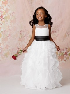 A-line Princess Scoop Floor length White Organza Flower Girl Dress with Ruffles Black Sash