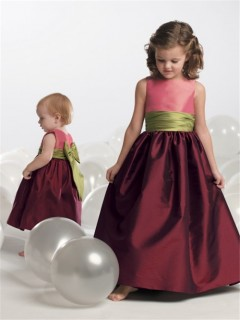 A-line Princess Scoop Tea Length Burgundy Taffeta Toddler Flower Girl Dress With Sash