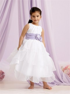 A-line Princess Scoop Tea Length White Organza Flower Girl Dress With Purple Flowers Sash