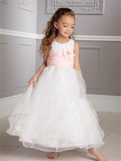 A-line Princess Scoop Tea Length White Organza Wedding Flower Girl Dress With Pink Sash