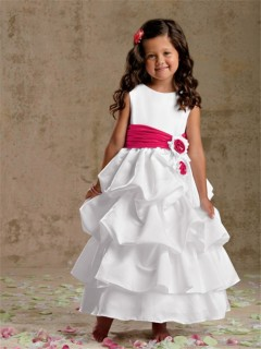 A-line Princess Scoop Tea Length White Puffy Taffeta Flower Girl Dress With Sash