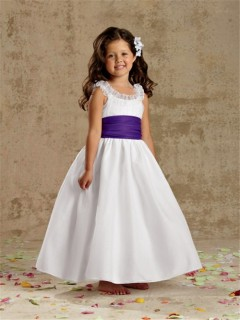 A-line Princess Scoop Tea Length White Taffeta Wedding Flower Girl Dress With Sash