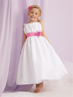 A-line Princess Spaghetti Strap Tea Length White Taffeta Flower Girl Dress With sash