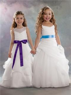 A-line Princess Straps Floor Length White Organza Designer Flower Girl Dress With Sash