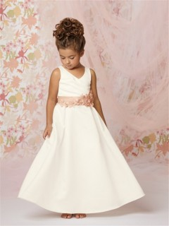 A-line Princess v neck Floor length Ivory Taffeta Flower Girl Dress with Flowers Sash