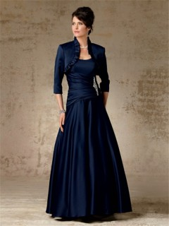 A line long navy blue satin mother of the bride dress with jacket