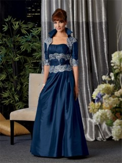 A line long navy blue taffeta mother of the bride dress with jacket