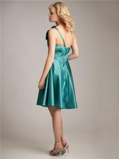 A line one shoulder knee length short jade silk bridesmaid dress with bow