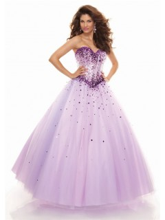 A line sweetheart floor length lilac prom dress with sequins