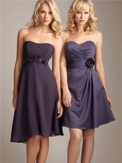 A line sweetheart mini/short grey satin bridesmaid dress with flower