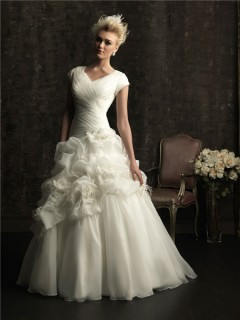 A line v neck chapel train organza wedding dress with short sleeves