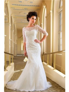 Allure Mermaid Bateau Chapel Train Beaded Destination Wedding Dress With Sleeves