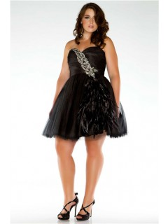 Amazing Ball Sweetheart Short/ Mini Black Tulle Feathers Plus Size Cocktail Dress