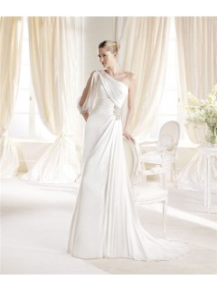 Asymmetrical One Shoulder Sleeve Chiffon Beaded Informal Wedding Dress