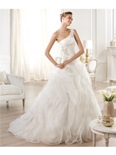 Ball Gown Asymmetrical One Shoulder Chiffon Draped Tulle Wedding Dress With Beading