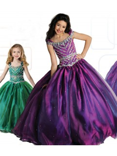 Ball Gown Bateau Neckline Purple Organza Beaded Girl Pageant Prom Dress