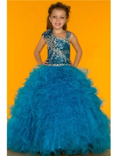 Ball Gown Blue Sequin Beaded Puffy Tulle Little Girl Pageant Party Dress