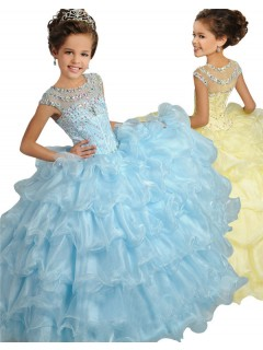 Ball Gown Cap Sleeve Light Blue Organza Ruffle Girl Pageant Prom Dress