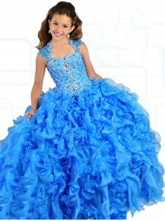Ball Gown Cut Out Back Blue Organza Ruffle Beaded Puffy Girl Pageant Prom Dress