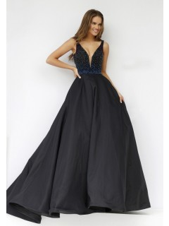 Ball Gown Deep V Neck Long Black Taffeta Beaded Prom Dress