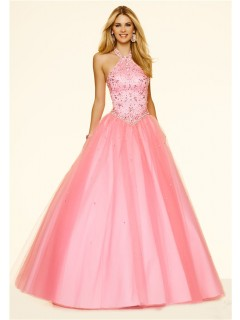 Ball Gown Halter Drop Waist Corset Ligh Pink Tulle Beaded Prom Dress
