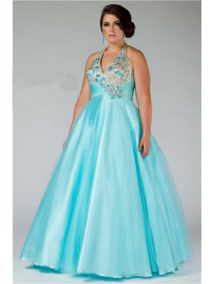 Ball Gown Halter Empire Waist Long Aqua Blue Beaded Plus Size Prom Dress