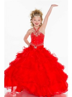 Ball Gown Halter Long Red Organza Ruffle Beaded Little Flower Girl Party Dress