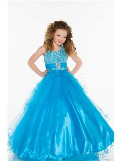 Ball Gown Halter Long Turquoise Tulle Beaded Little Flower Girl Party Dress