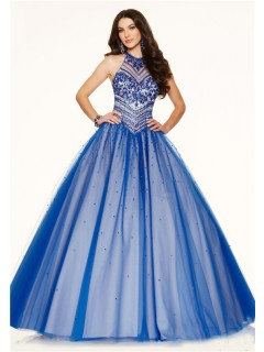 Ball Gown High Neck Open Back Royal Blue Tulle Beaded Corset Prom Dress