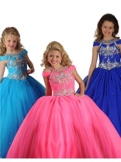 Ball Gown Hot Pink Tulle Crystals Beaded Little Girls Party Prom Dress