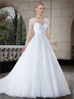 Ball Gown Illusion Neckline Sheer Back Long Sleeve Tulle Beaded Wedding Dress